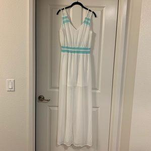 White and Teal Tobi Chiffon Maxi Dress